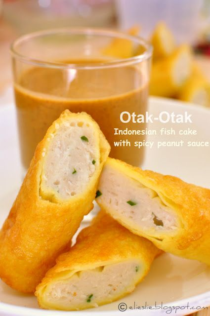 This looks so interesting -- fish and coconut in fried spring rolls with peanut sauce --  OTAK OTAK FROM INDONESIA