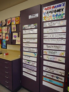 """Students write a """"tweet"""" each morning on a laminated strip of paper of their own design. With some guidelines, this would make a great morning meeting activity in the intermediate grades."""