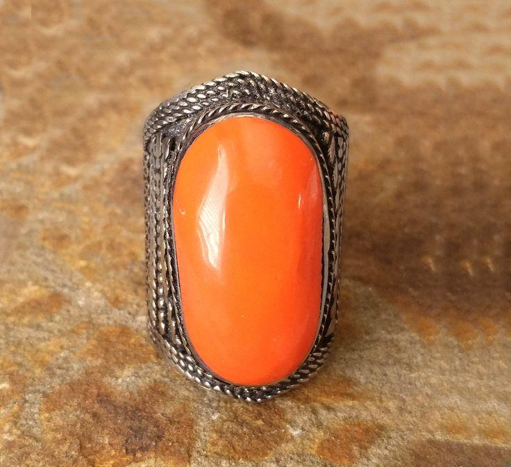 Enamel orange stone ring,Kuchi ring,Gypsy ring,Tribal ring,Orange ring,Afghan ring,Free shipping by ZsTribalTreasures on Etsy