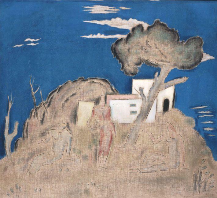 kaufen Gemälde'landschaft mit drei figuren' von Konstantinos Parthenis - Kaufen Sie eine handgemalte Ölreproduktion , Kunstreproduktion, Ölgemäldereproduktionen, Kunst auf Leinwand, Kunstwerksreproduktion, Leinwand Ölgemälde Reproduktion Kunstwerk