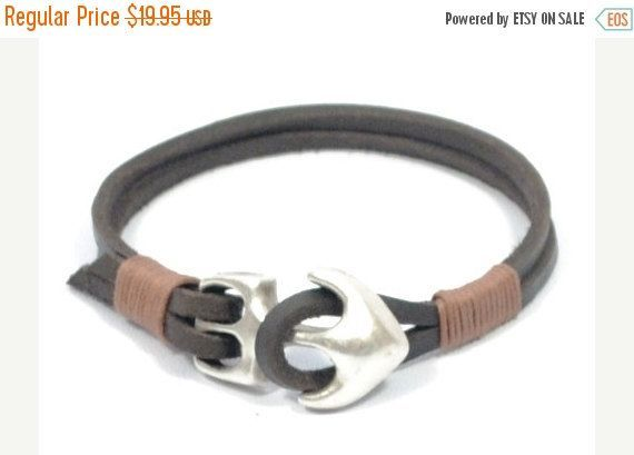 BLACK FRIDAY SALE brown anchor bracelet, mens leather bracelet, anchor jewelry, gifts for dad, mens nautical bracelet, anniversary gift for