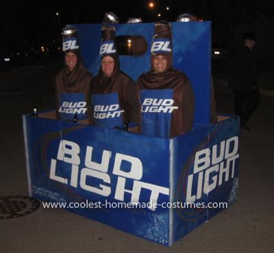 Coolest Beer Bottles Costume: Well, we actually got the idea for this Homemade Beer Bottles Costume from some of the other postings on your website. But, we thought we could really