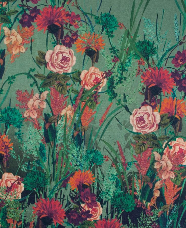Viscose tricot bloemenprint - Stoffen