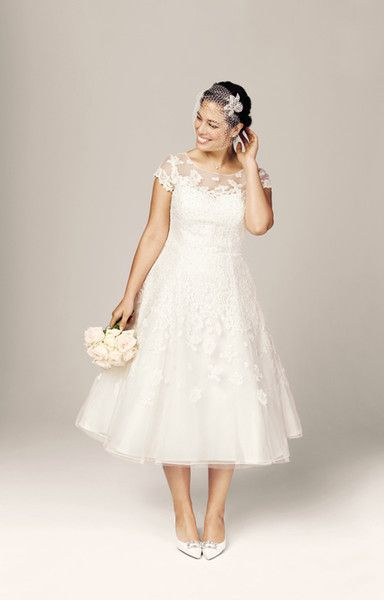 Discount 2015 New Classic Wedding Dresses Beach Plus Size Bridal Gowns With A Line Sheer Neckline Lace Tea Length Cap Sleeves Buy One Dress Get Veil Cheap Wedding Dresses White Dresses From Toprated, $107.46| DHgate.Com