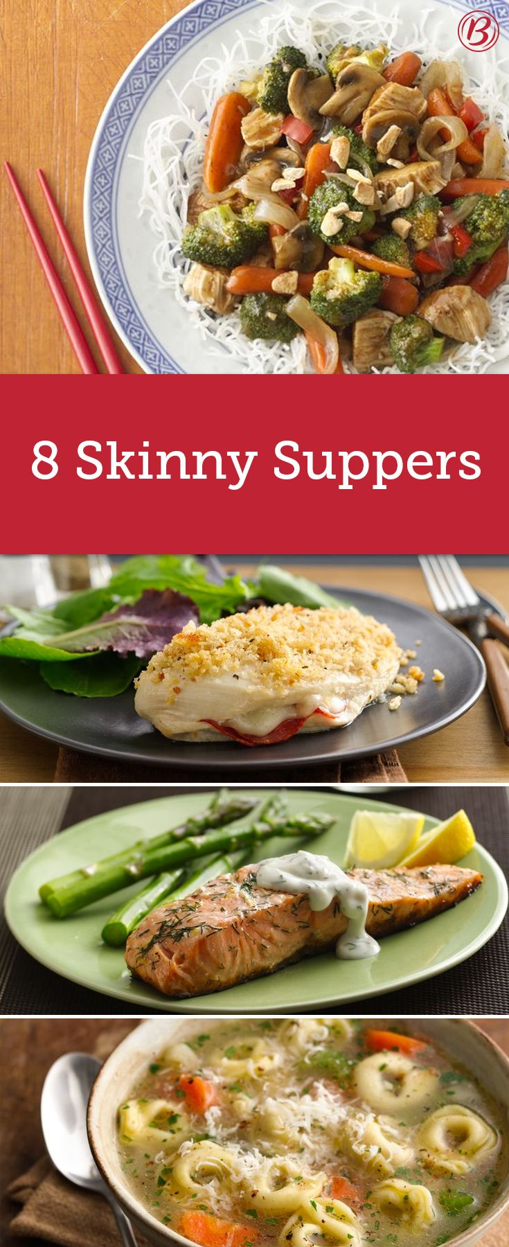 Clocking in at fewer than 300 calories per serving, these quick and easy meals fill you up without weighing you down. Stuffed chicken breasts, tortellini soup and creamy turkey casserole are just a few of our favorites!