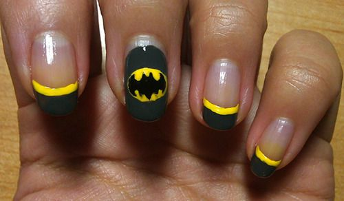 Batman nails: French Manicures, Art Ideas, Nails Ideas, Halloween Nailart, Nails Polish, Hair Nails, Batman Costumes, Batman Nails Tutorials, Batman Nails Art
