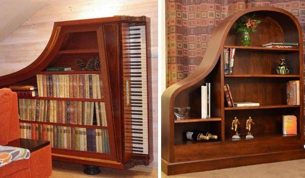 Nápady ako premeniť staré, nepoužitieľné piano na policový regál