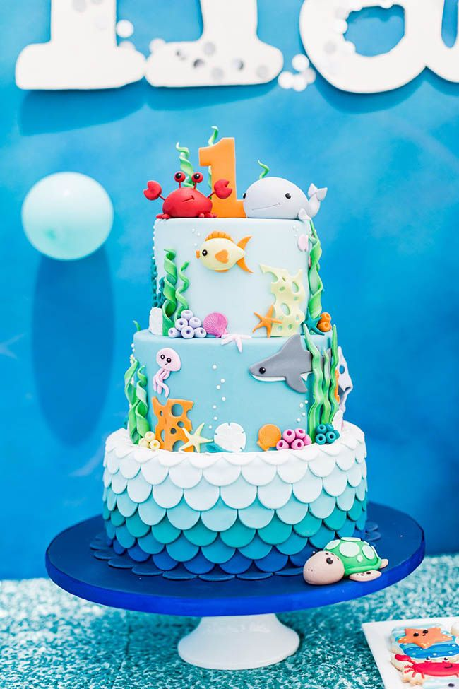 Under The Sea Themed First Birthday Party At Montage Laguna Beach Boys First Birthday Cake Ocean Birthday Cakes Boys 1st Birthday Cake