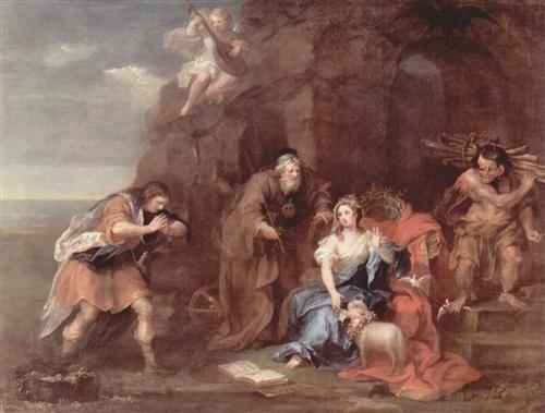 "William Hogarth - Prospero and Miranda from ""The Tempest"" of William Shakespeare - 1728"