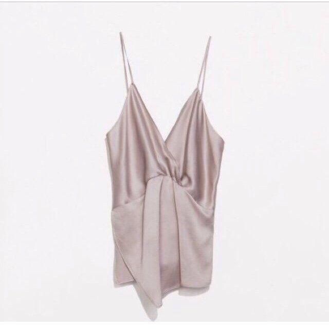 b3e007d789 Silky Zara cami nude crossover neckline, as seen on Kylie Jenner ...