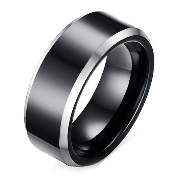 Black Titanium With Silvery Edge - Ring
