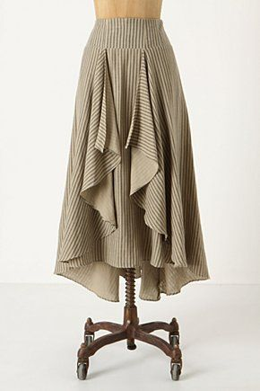 """Windswept Prairie Skirt -- $198 -- Straight-as-an-arrow stripes lend linear appeal to Eva Franco's breezy, graduated-hem skirt.      * Decorative hook-and-eye at waist     * Side zip     * Cotton; polyester lining     * Dry clean     * 36""""L     * USA"""