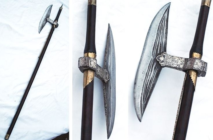 """Indian bullova axe, from one of the aboriginal tribes of Chota Nagpur, a similar example is pictured in Gamble's book (""""Battle Axes"""") stating that it is a 1700s piece."""