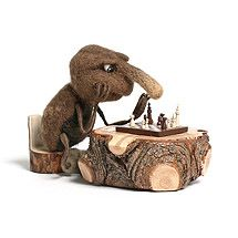 """IRINA EGOROVA - (acicularis) -- """"Chessplayer"""" -- The size of the beetle 6 cm., 2.5 cm. chessboard, on the side pawns 5 mm., king of 1 cm..  Main material: wool.  Eyes, chess - polymer clay.  Toning - pastels.  Limbs - wire, embroidery floss.  -- 2009 -- Insect prototype - hylobius abietis, the large pine weevil."""