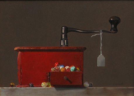 Robert E. Zappalorti, Coffee Grinder #1, 2009, oil on board, 11 X 15 inches