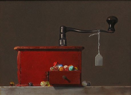 Robert E. Zappalorti, Coffee Grinder #1, 2009, oil on board, 11 X 15 inches