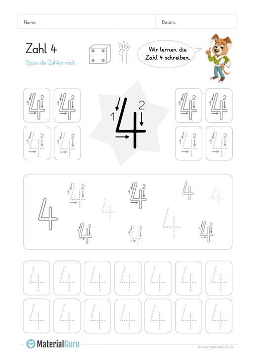 Ein kostenloses Mathe-Arbeitsblatt zum Schreiben lernen der Zahl 4, auf dem die … – MaterialGuru