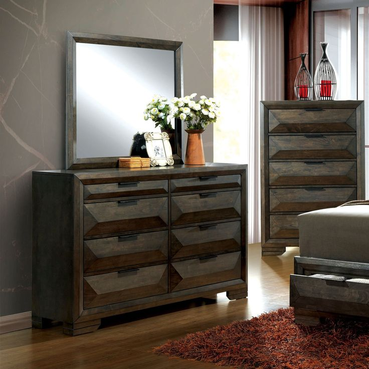 Furniture of America Angled Rustic Modern 2-piece Espresso Dresser and Mirror Set