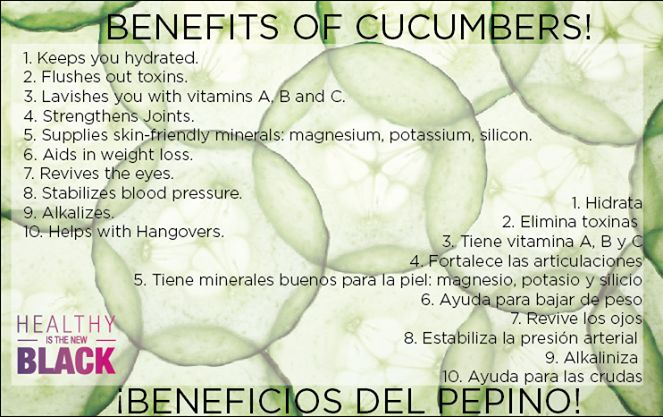 Benefits of cucumbers ......................Beneficios del pepino