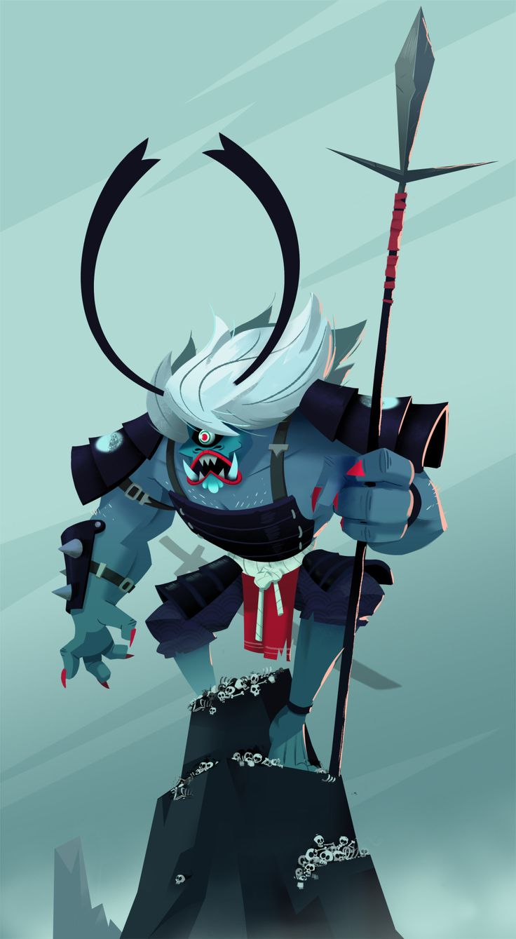 My participation for the Character Design Challenge of this month. It's an Oni demon samurai ! Hope you'll like it !