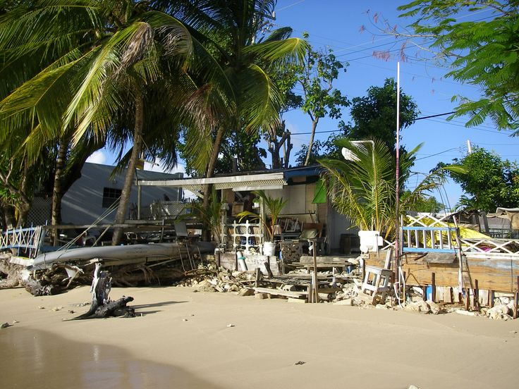 A classic Bajan beach shack at Mullins Bay.
