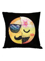 Mustache Emoticons Reverisble Sequin Decorative Pillow Case