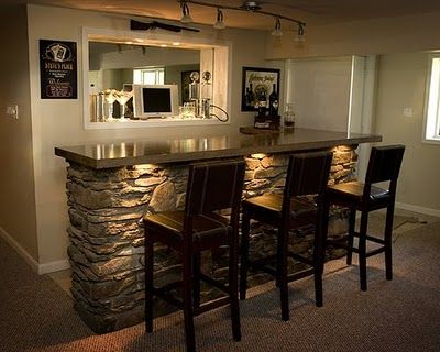 Family Room Bar Really Like The Lighting Under Counters And Huge Mirror On Back Wall Stone Feature Is Stunning Bat Bars For Home