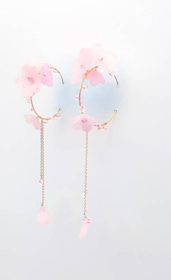 Cherry blossom  flower hoop earring  Pink / Yellow