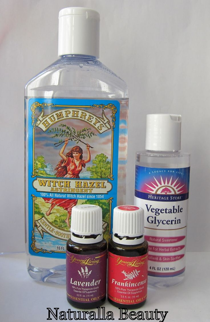 DIY TONER :: Witch Hazel & Glycerin Toner Recipe :: 1/2 c. witch hazel, 20 drops vegetable glycerin, 10 drops each lavender & frankincense essential oil. Add ingredients in (dark) glass bottle; shake to mix. Apply w/ cotton ball or mist onto face w/ spray bottle. Has just enough glycerin to make the toner a bit more gentle, but doesn't feel tacky or too tight/dry (like straight witch hazel) on or change the witch hazel's effectiveness. Essential oils can be switched up, too…