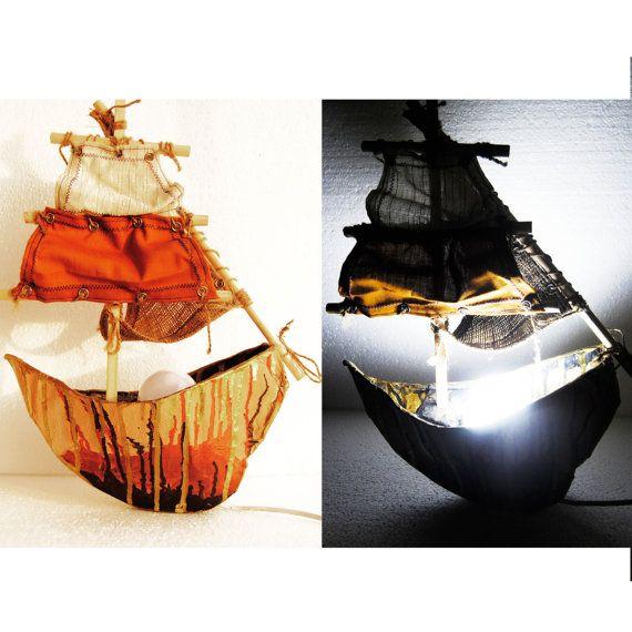 Sailboat Night lamp, nightstand light, Paper mache lamp, Unique Lamp, Kids room night lamp, Rustic navy decor, Naval decor, Pirate Ship lamp