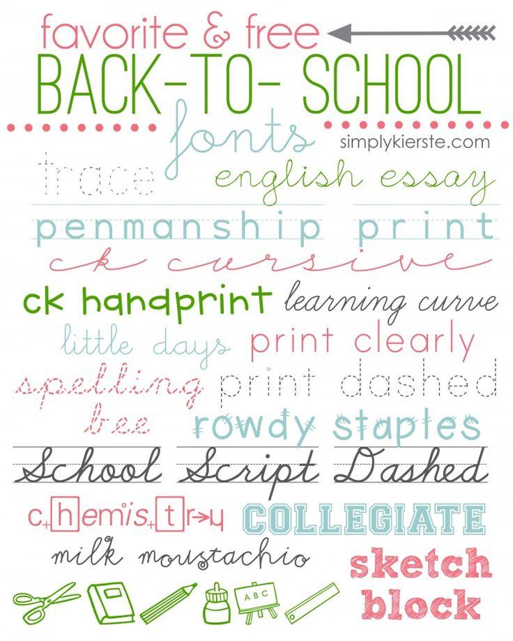 favorite & free back-to-school fonts   simplykierste.com