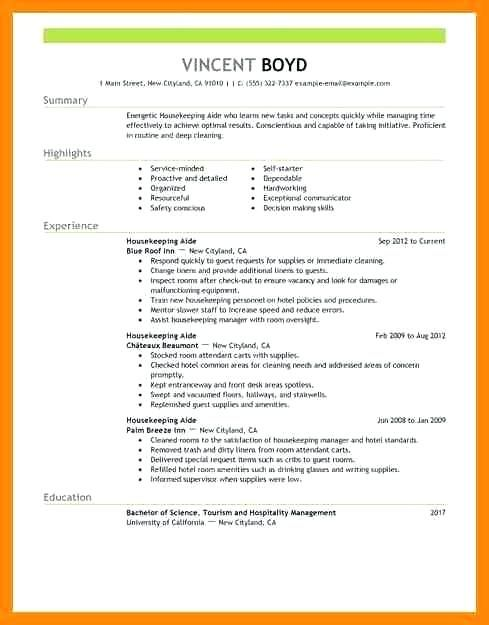 73 New Photos Of Resume Sample For Housekeeping Attendant Resume