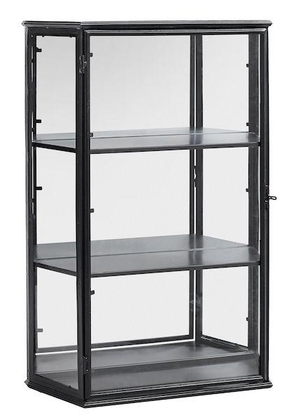 Klassisk og elegant vægskab i sort metal med 3 hylder fra Nordal.