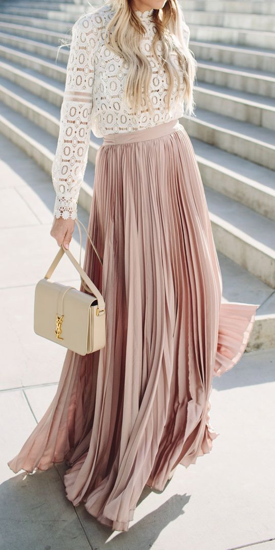 How gorgeous is this Pleated Pink Maxi Skirt and Nude YSL Bag?