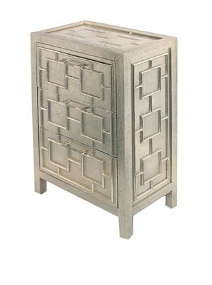 -69,400% OFF Bethel Silver 3-Drawer Bed Side Table, Silver
