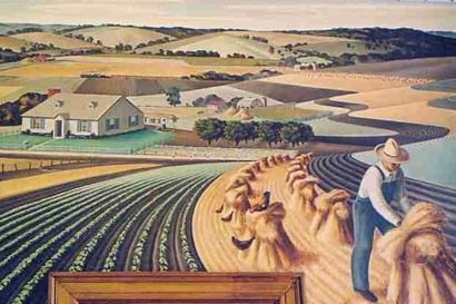 """""""Soil Conservation in Collin County"""" 1941, Farmersville Post Office mural by Jerry Bywaters"""