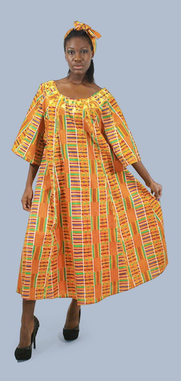 Kente Umbrella Dress & Head-Wrap - Bold African Kente Dress with a bright orange and red kente pattern.  Celebrate your love of African fashion with this beautiful Kente dress.  Perfect for wearing to a Black History Month party, or for celebrating African culture and history all year long.  It's both comfortable and classy so its perfect for traveling or going out on a dinner date.  #africanfashion #fashion #africa #dressup #dressy #african #womensfashion #fashionable #travelfashion #dress
