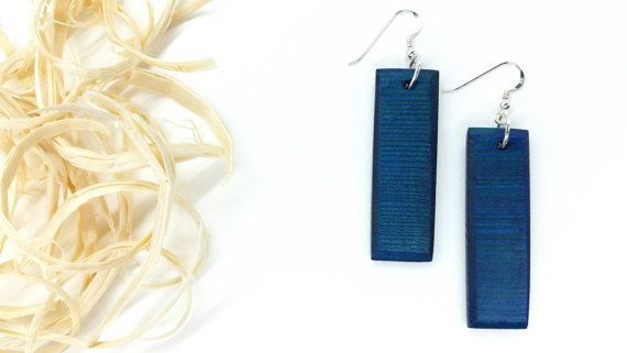 Midnight Blue Geometric Wood Silver Handmade by TheWoodArtShop