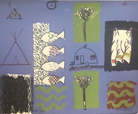 Peter Pinson '1234 Sky Blue' - screenprint on paper