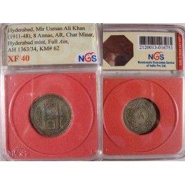 Hyderabad State 8 Anna coin - Mir Usman Ali Khan - Certified