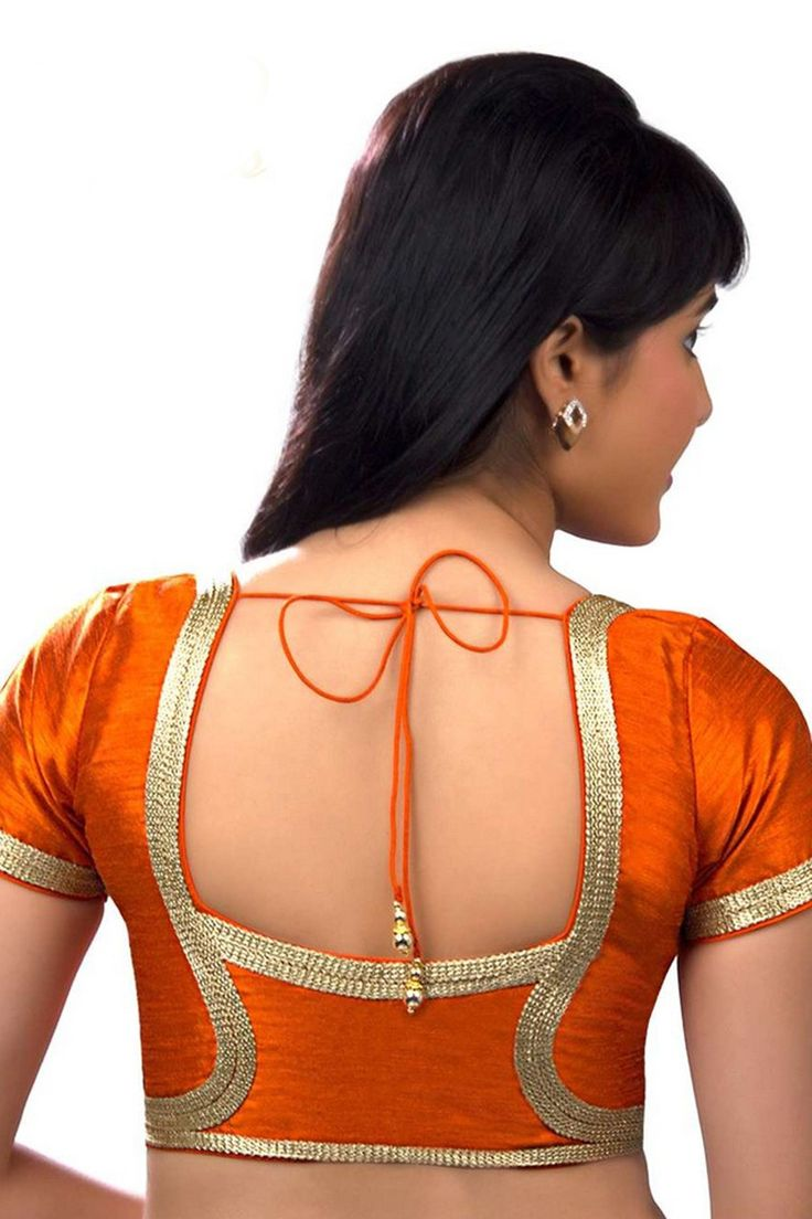 Pale #orange raw #silk festive wear #blouse with round neck -BL636