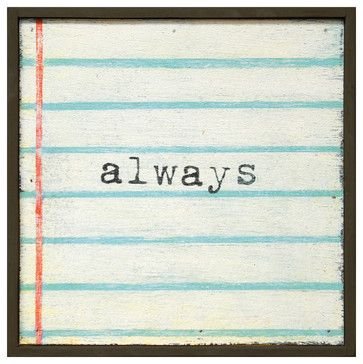 Always' Lined Notebook Reclaimed Wood Small Wall Art - transitional - Prints And Posters - Kathy Kuo Home