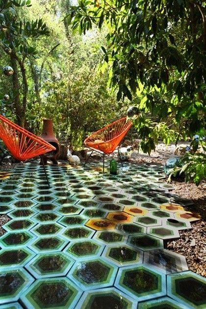 kismet tile hexagon in green tonal with several hot orange accents in a garden in ojai california - Matchstick Tile Garden Decoration
