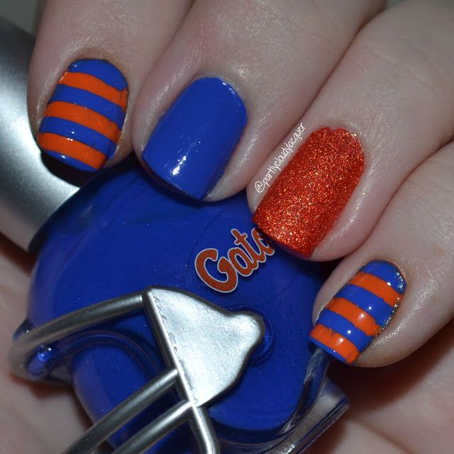 Florida Gators; orange and blue, Florida Gator nails; #UFvsECU