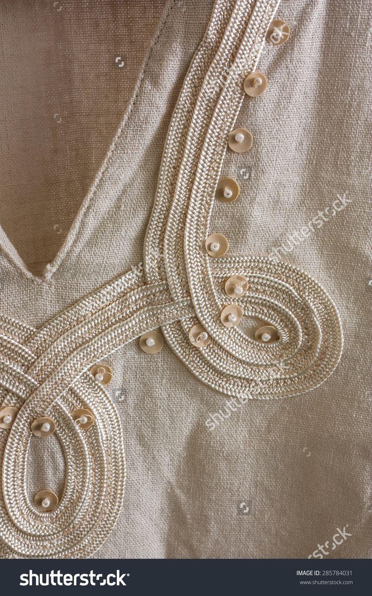 Closeup Of Gauzy Linen Tunics Finish/ Finish Linen Tunics Zdjęcie stockowe 285784031 : Shutterstock
