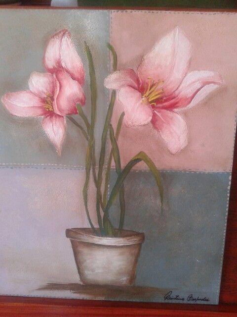 Flores pintadas con acrílico.