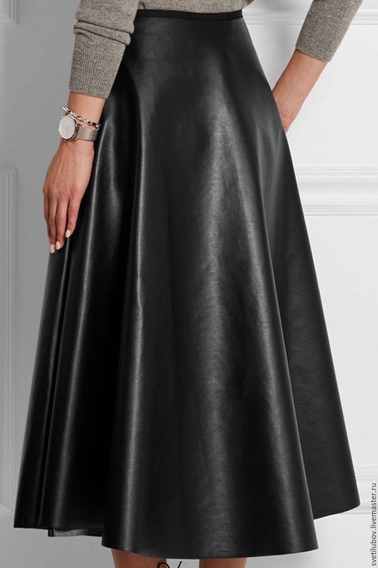 Купить Юбка кожаная - черный, кожа, кожаная юбка, офисная одежда, стильная юбка