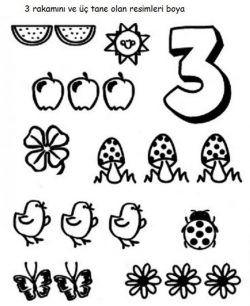 üç 3 Rakami Boyama Sayfasi Rakamlar Education Activities Ve Math