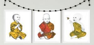 Monk-Child-Prints-child-nursery-art-spiritual-art-Buddhism-decor-monk-prints