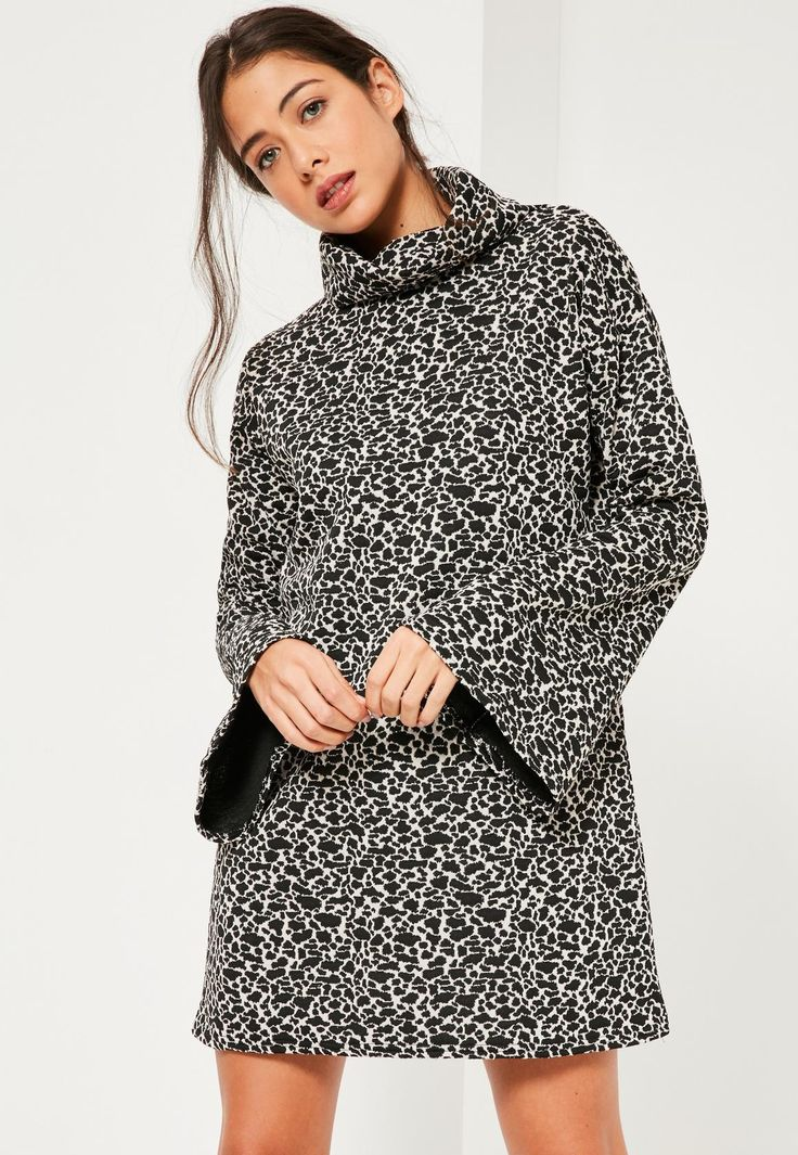 Missguided - Black Jacquard Leopard Flared Sleeve High Neck Dress